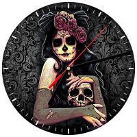 """8"""" WALL CLOCK Sugar Skull #21 Dia de los Muertos Day of the Dead Halloween"""