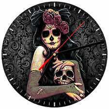 """8"""" WALL CLOCK Sugar Skull 21 Dia de los Muertos Day of the Dead Halloween Tattoo"""