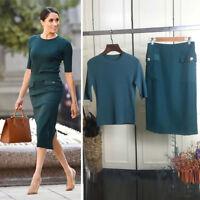 Meghan Markle Elegant Green Knit Top Midi Pencil Skirt Set Tee Knitwear Pocket