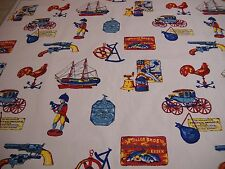 """VTG ONE YARD HANOVER NOVELTY PATRIOT COTTON FABRIC Red White Blue 48"""" BTY"""