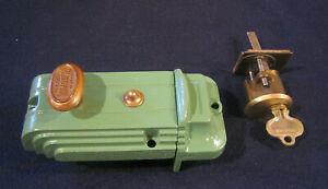 Antique Art Deco Cast Iron Rim Night Latch Deadbolt Lock #1390 Refurbed- Russwin