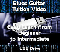 BLUES GUITAR TUITION - BEGINNERS TO INTERMEDIATE VIDEO LESSONS ON USB DRIVE