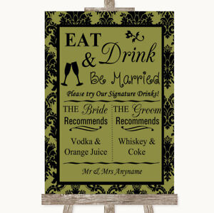 Wedding Sign Poster Print Olive Green Damask Signature Favourite Drinks