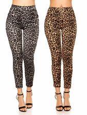 Treggings pantaloni donna leopardati elasticizzati tasche skinny nuovi