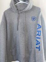Ariat Hoodie Grey Blue Long Sleeve Ariat Logo Men Medium Sweater