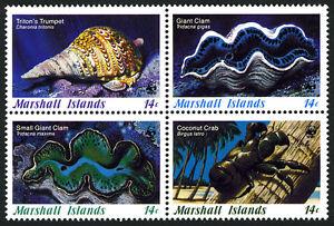 Marshall Islands 110-113a Bl/4,MNH. Marine Invertebrates: Trumpet,Clam,Crab,1986
