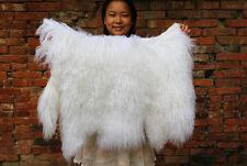 Real 110cm Single One Pelt Mongolian Fur Rug Bedroom fur rug Ivory Carpet