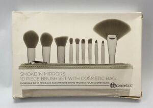 BH Cosmetics 10 Piece Brush Set With Cosmetic Bag Gray BH-4000-051849953008394