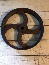 Vintage Cast Iron Flat Belt Pulley Staempunk Art Lampbase