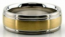 MENS SOLID 18K TWO TONE GOLD WEDDING BANDS WHITE & YELLOW GOLD RINGS SATIN  7MM