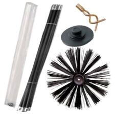 """16"""" 400MM Chimney Flue Sweep Brush & 7.4M Drain Rod Set + Screw Worm and Plunger"""