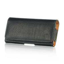 for iPhone 5C - HORIZONTAL BLACK Leather Pouch Holder Belt Clip Holster Case