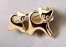 Boho Chic Gold Plated Kittens Cats Kitty Brooch Pin W/ Swarovski Crystal Gems Bn