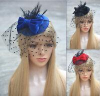 Lady Mini Top Pillbox Hat Fascinator Headpiece Bridal Netting Wedding A319