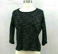 Madewell Hi-Line Sweater Pullover XS Cropped Marled Shadetree Black & White