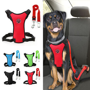 Air Mesh Dog Car Harness and Lead Pet Cat Safety Seat Belt Clip Travel Vest S-L