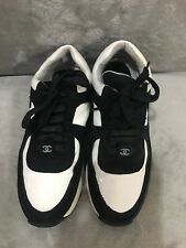 CHANEL Vinyl PVC Suede Trainers Black White Women Sneakers Size 38