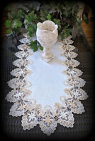 "Dresser Scarf Lace Table Runner 27""x14""  Doily Neutral Beige Tan Antique White"