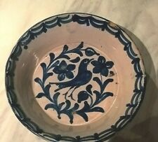 ANTIQUE DELFT WARE / TIN GLAZED BLUE AND WHITE BIRD AND FLOWERS DEEP DISH