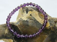 Delicate Men's Natural Gemstone Bracelet Amethyst 6mm beads  elasticated