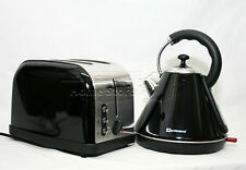 Black Pyramid Style 1.8L Cordless Electric Kettle & Two Bread Slice Toaster Set