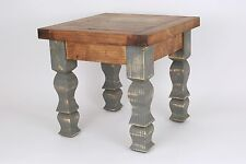 Rustic End Table-Mexican-18x18x17-Furniture-Primitive-Old Door-Industrial Gray