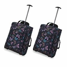 Set of 2/twin Easyjet Ryanair Carry on Trolley Cabin Bag Hand Luggage Suitcases Butterflies Navy 55cm