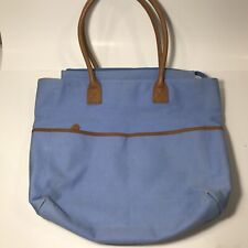Womens LL Bean Tote Bag Canvas Multi Coloered With Leather Trim