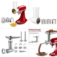 Meat Grinder + Slicer/Shredder Food Pusher Attachment For KitchenAid Stand Mixer