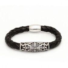 Leder Armband Edelstahl Armkette Skull Biker Kreuze Magnetverschluß schwarzes