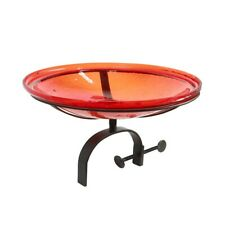 "Achla 14"" Crackle Bowl with Over Rail Bracket, Red - Cgb-14R-Or"