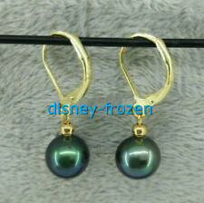 High quality AAA 9-10mm natural Tahitian black green pearl Dangle earrings 14k