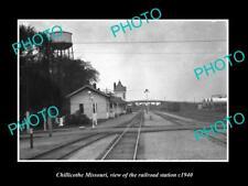 OLD LARGE HISTORIC PHOTO OF CHILLICOTHE MISSOURI RAILROAD DEPOT STATION c1940