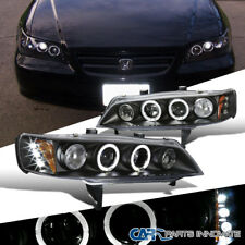 Fit Honda 94-97 Accord 2/4Dr Black LED Dual Halo Projector Headlights Head Lamps