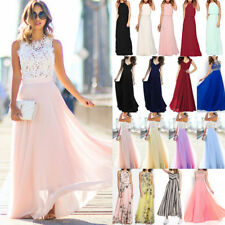 Women's Long Chiffon Evening Formal Party Ball Gown Prom Bridesmaid Maxi Dress