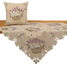 Romantic Lila Lavender Embroidery Table Runner Tablecloths Cushion Kitchen Beige