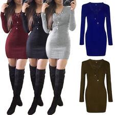 Women's Autumn Winter Long Sleeve Slim Sweater Jumper Knit Bodycon Mini Dress