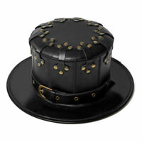 New Party Men Women PU Leather Top Hat Punk Gothic Steampunk Black Retro Rivet