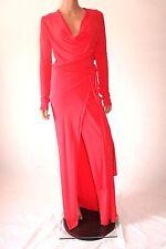 Haute Hippie Red Long Sleeve Deep Cut Wrap Cocktail Evening Dress With Belt