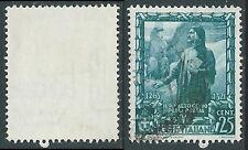 1938 REGNO USATO IMPERO 25 CENT FILIGRANA LETTERA - S441-2