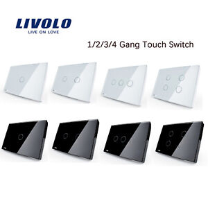 LIVOLO US/AU Standard Multiple Choices 1/2/3/4 Gang White/Black Touch Switch