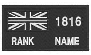 E0207  EMBROIDERED THIN SILVER LINE HM PRISON PATCH WITH NUMBER / RANK / NAME
