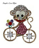 GOLD MULTI ENAMEL CRYSTAL FLOWER MONKEY CLOWN BIKE BICYCLE CYCLE BROOCH PIN