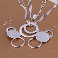 women lady silver 925 women CHAMRS Cute new necklace earring jewelry set S17