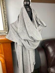 Cashmere Pashmina Scarf Handwoven Nepal wrap Shawl Knit Woven scarf natural grey