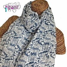 HOUSES SCARF LADIES WHITE SCARF WITH NAVY BLUE HOUSE DESIGN SUPERB SOFT QUALITY