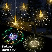 120/200LEDs Solar/Battery Hanging Starburst Fireworks Fairy String Lights Xmas