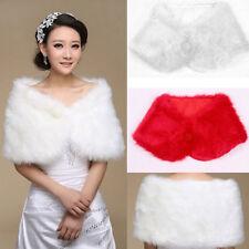White Women Plush Faux Fur Bridal Wedding Jacket Wrap Shrug Bolero Shawl Cape 88