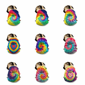 Tie Dye Fashion Pet Dog Clothes Winter Warm Hoodies Sweater Jacke Pet Coat Tops