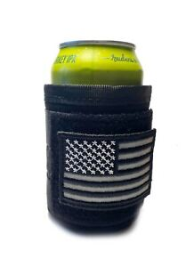 Covert BLACK USA Fly your flag Tactical Military Beer Soda Bottle Coozie Coolie